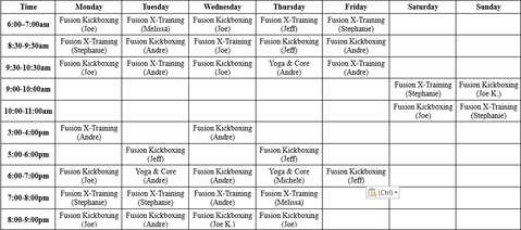 Port Jeff Station Kickboxing Schedule